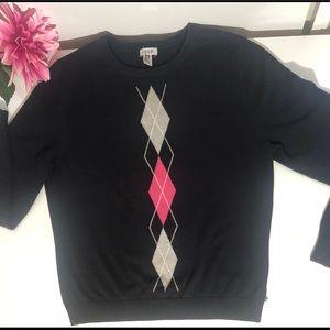 Izod navy blue crew neck sweater w/ grey & pink